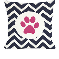 Chevron Circle Paw Print Pillow