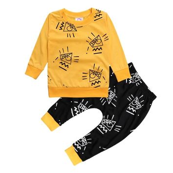 Fashion Autumn Baby Boys Clothes Set Cotton Newborn Baby Girl Boy Clothing Suits Long Sleeve Tops+Pants Infant Costume Outfit