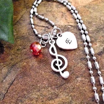 Personalized Jewelry, Music Jewelry, Treble Clef Jewelry, Music Necklace, Hand Stamped Jewelry, Initial Necklace