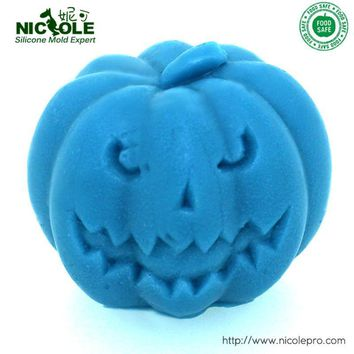 Pumpkin with Buck-Toothed Silicone Candle Mold for Handmade Soap Making Hallowmas Mould