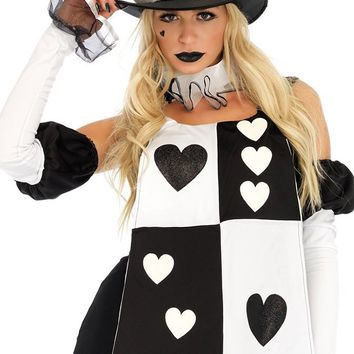 Wonderland Bunny Black White Card Pattern Sleeveless Ruffle Mini Dress Halloween Costume