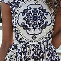 PAISLEY PRINT DRESS , DRESSES, TOPS, BOTTOMS, JACKETS & JUMPERS, ACCESSORIES, 50% OFF END OF YEAR SALE, PRE ORDER, NEW ARRIVALS, PLAYSUIT, COLOUR, GIFT VOUCHER,,Blue,White,Print,SHORT SLEEVE,MINI Australia, Queensland, Brisbane