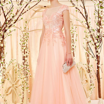 Cherry Blossom Pink Formal Prom Evening Dress with Cap Sleeves CX830501