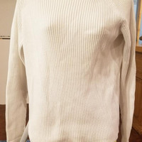 WOMENS white ribbed turtleneck sweater top size Large 90s vintage clothing