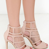 Sheer We Go Nude Mesh Peep Toe Heels