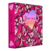 Cute hearts and flowers pattern binder