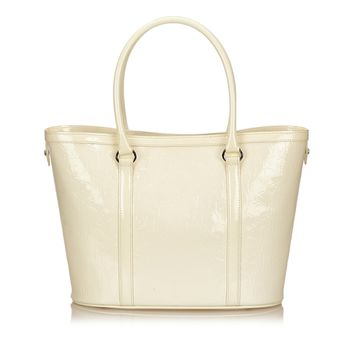 Christian Dior White Patent Leather Tote bag