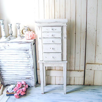 Tall Jewelry Box, Shabby Chic Jewelry Armoire, White Jewelry Cabinet, Rustic Cream Big Jewelry Chest, Farmhouse White Jewelry Box, Gift Idea