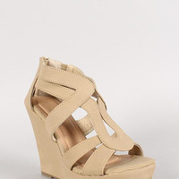 Strappy Open Toe Platform Wedge Color: Light Green, Size: 7