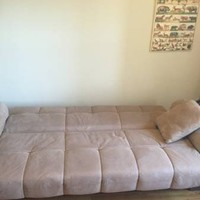 Suede Tan Couch Sofa Full Size Bed - Like New