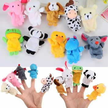 10X Farm Zoo Animal Finger Puppets Toys Boys Girls Baby Kids Party Cloth Doll Baby Educational Hand Toy Gift