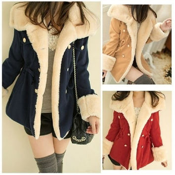 Lady Women Thicken Warm Winter Coat Fleece Overcoat Jacket Outwear = 1930142468
