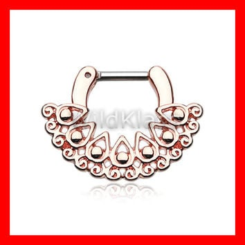 Rose Gold Septum Clicker Ring Horseshoe Ariosos Filigree Ring Cartilage Earrings Nipple Ring Circular Barbell Tragus Jewelry Helix Conch