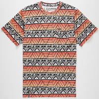 Lrg Geo Print Mens Pocket Tee Orange  In Sizes