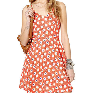 Orange Floral Print Sleeveless V-Neck Chiffon Dress