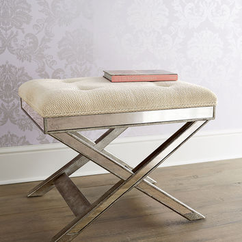 Lila Mirrored X-Stool - Neiman Marcus