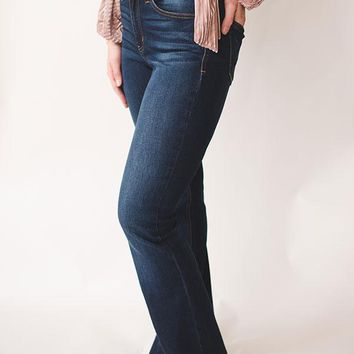 Dark Wash Bell Bottom Jeans - Dark Blue