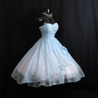 Vintage 1950's 50s STRAPLESS Baby Blue Ruched by VintageVortex