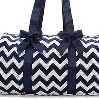 Personalized Navy Chevron Quilted Duffle Bag