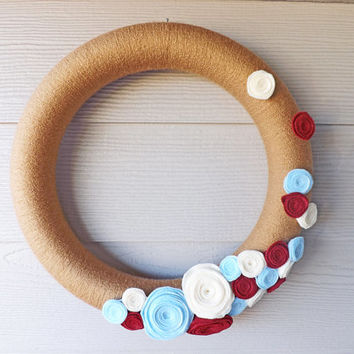 Tan Yarn and Handmade Felt Flower Wreath