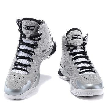 Under Armour Curry White- Gray -Black Basketball Shoes
