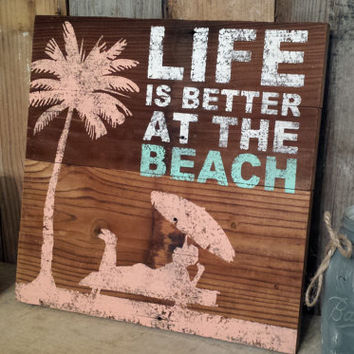 Rustic shabby chic Beach sign barnwood distressed home decor cottage wall hanging reclaimed antique vintage wood decoration gift