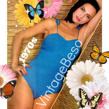 DIGITAL PATTERN • PdF Pattern • Bathing Suit Crochet Pattern • Sexy 1970s Swimsuit Maillot • Vintage One Piece Swimwear • Sizes 6 8 10 12 14