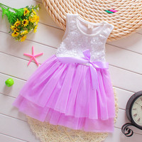 Floral Inlaid Waist Bow Princess Dress