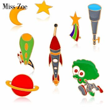 Miss Zoe Star Moon Meteor Alien Telescope Spaceship Planet Brooch Button Pins Denim Jacket Pin Badge Astronomy Jewelry Gift