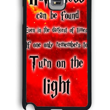 Samsung Galaxy Note 4 Case - Hard (PC) Cover with Harry Potter Quotes Happiness Can be Found Even in The Darkest of Times If One Remembers Plastic Case Design