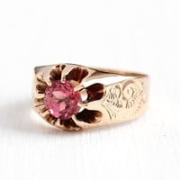 Pink Tourmaline Ring - Antique 10k Rosy Yellow Gold 1.08 CT Genuine Pink Gemstone - Vintage Size 7 1/2 Fine Belcher Art Nouveau Jewelry