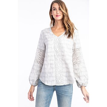 Embroidered plaid linen and lace balloon sleeve blouse