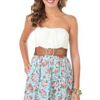strapless floral dot printed belted casual dress - debshops.com