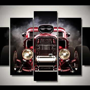 HD Printed hot rod red front view wheels picture painting wall art children's ro