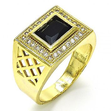 Gold Layered Mens Ring, with Cubic Zirconia and Micro Pave, Golden Tone
