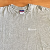 Vintage Champion Brand Men's T-shirt Crewneck Embroidered Spell Out Gray XXL