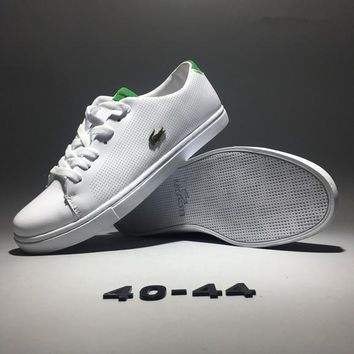 Lacoste Men Simple Casual Fashion All-match Low Help Cowhide Plate Shoes Small White Shoes Sneakers-1