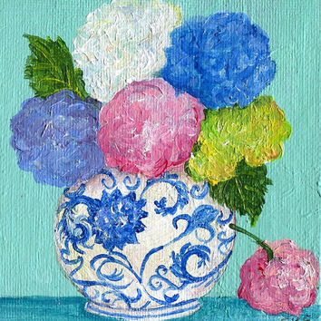 Hydrangeas mini painting, acrylic on small canvas, Flowers artwork, 4 x 4, blue and white Oriental vase