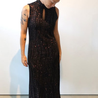 ON SALE Vintage 1980s designer Ronnie Nicole black and copper sparkly evening dress