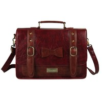 Ecosusi Women Vintage PU Leather Messenger Bags Crossbody Shouder Handbags Satchel Weekender Fashion Bag