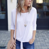 White Michael Stars Dolman Tee with Tie Waist-$88.00 | Hand In Pocket Boutique