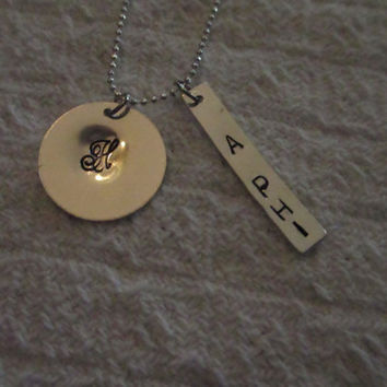 Sterling Silver 19mm Cursive Single Initial Necklace with Sorority Tag