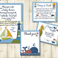 Blue green nautical baby shower printable invitation set boy sea life whale digital invite with inserts thank you bring a book Diaper card