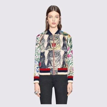 DCCK6HW Gucci' Women Fashion Casual Sequin Letter Tiger Head Floral Geometric Print Long Sleeve Zip Cardigan Jacket Coat