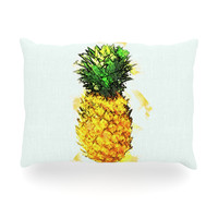"Oriana Cordero ""Slice of Summer"" White Yellow Oblong Pillow"