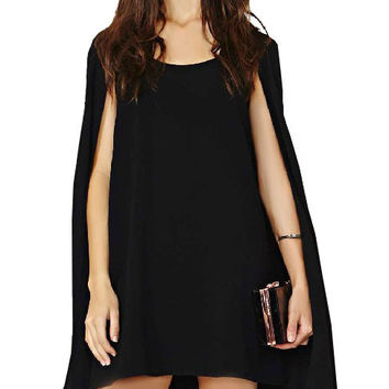 Chiffon Cape Mini Dress