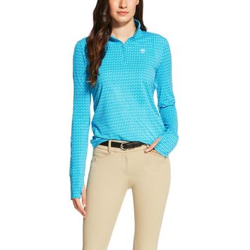 Ariat Ladies Lowell 1/4 Zip Shirt - Barrier Blue Print
