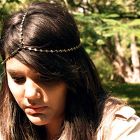 Chain Headpiece Headband FACEBOOK 10 DOLLAR DEAL Bohemian Circle Bronze Chain Simple Drape Hipster Boho Hippie Bridal Statement Jewelry
