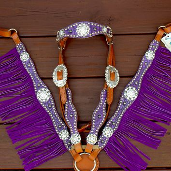 Antique Purple/Tan Leather Fringe Browband Tack Set w/Clear Crystal Rhinestone Conchos