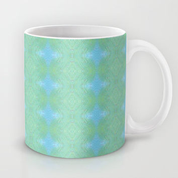 Blue And Green Woven Print Mug by KCavender Designs